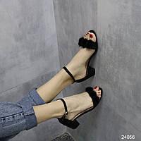 Замшевые женские босоножки с пушком на не высоком квадратном каблуке 40 маломерный размер