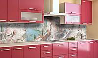 Кухонный фартук Весна на побережье (виниловая наклейка для кухни ПВХ пленка скинали) цветы Море Розовый