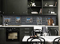 Кухонный фартук Картины на Деревянном фоне (виниловая наклейка для кухни ПВХ пленка скинали) Абстракция Серый