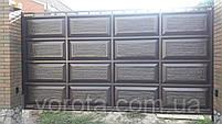 Автоматические ворота с калиткой (дизайн филенка, шоколадка с эффектом жатки), фото 3