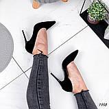Женские туфли лодочки замшевые черные, фото 2