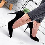 Женские туфли лодочки замшевые черные, фото 4