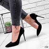 Женские туфли лодочки замшевые черные, фото 3