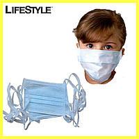 Одноразовая детская маска - 10 шт + Подарок Антисептик  / Маска для лица на завязках