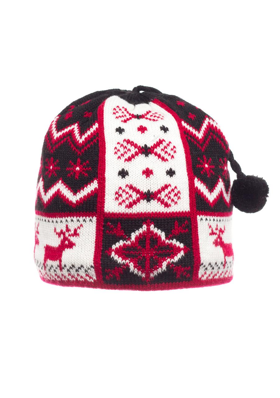 Детская оригинальная красивая вязанная шапочка .
