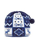 Детская модная красивая вязанная шапочка с бумбоном, синяя с белым.