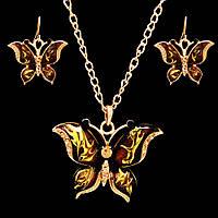 """Позолоченный ювелирный набор украшений из эмали """"Бабочки"""", фото 1"""