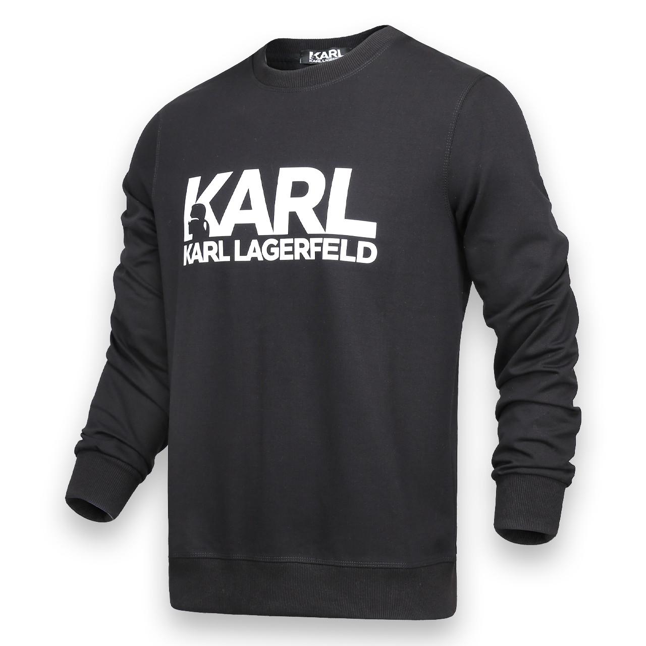 Свитшот мужской черный с принтом KARL LAGERFELD №1 BLK L(Р) 21-201-002