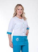 """Распродажа Медицинский костюм женский 48 размер """"Health Life"""" с вышивкой коттон 3227"""