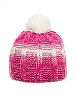 Детская модная красивая нежная вязанная шапочка с бумбоном, темно-розовая с белым.