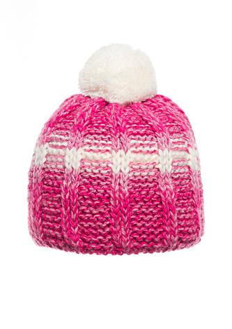 Детская модная красивая нежная вязанная шапочка с бумбоном, темно-розовая с белым., фото 2