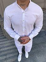 Мужская летняя рубашка с воротником-стойкой
