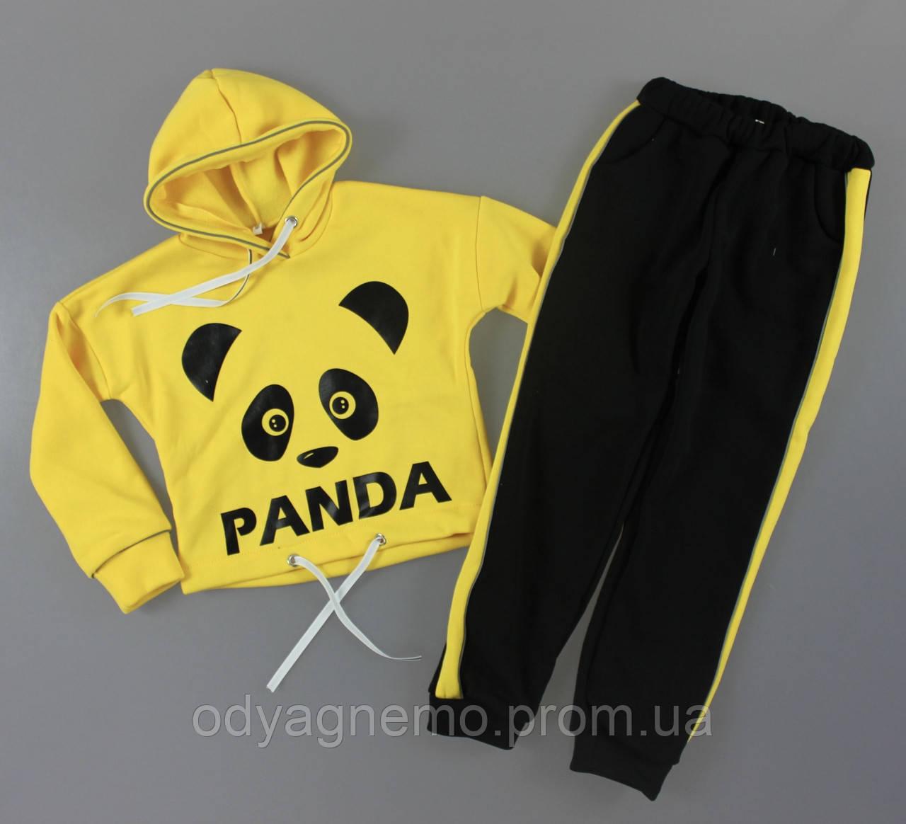 Трикотажный костюм-двойка на байке Panda для девочек оптом, 128-152 рр. Артикул: DAK1005-жёлтый