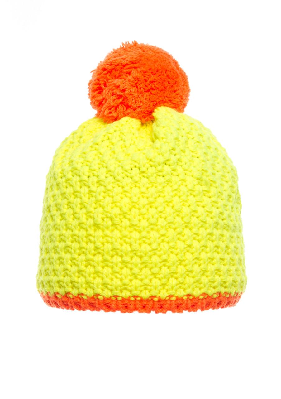Детская яркая и стильная вязанная шапочка желтая с оранжевым бумбоном, Польша.