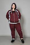 Спортивний жіночий костюм великого розміру, бордовий, фото 2