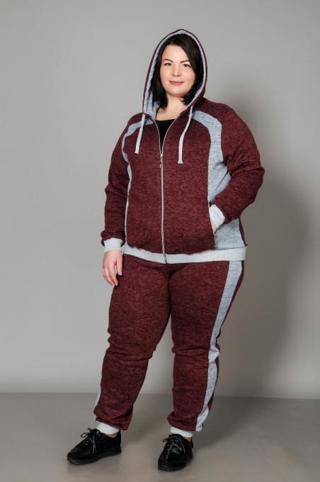 Спортивний жіночий костюм великого розміру, бордовий