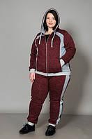 Спортивный женский костюм большого размера, бордовый