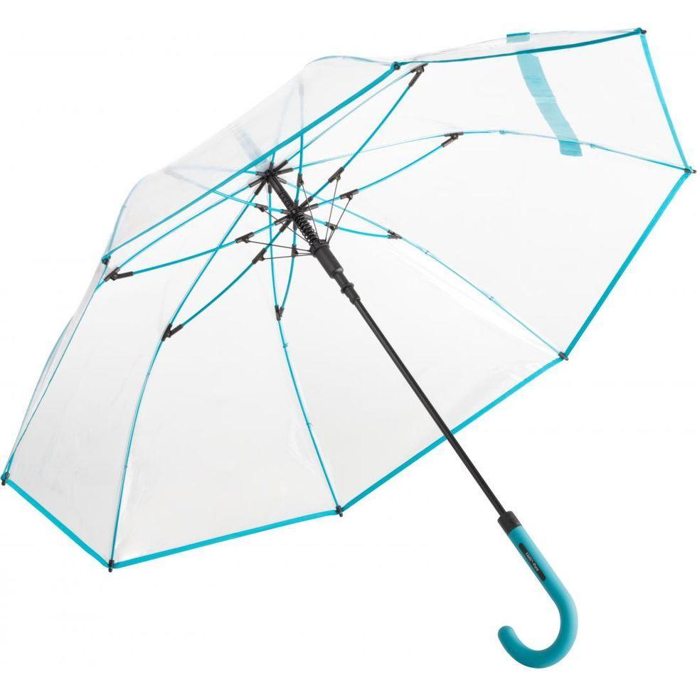 Зонт-трость Fare 7112 с прозрачным куполом Бирюзовый (1108)