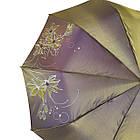 Женский зонт полуавтомат Max на 10 спиц с цветочным узором Коричневый (2018-1), фото 3