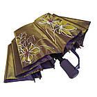 Женский зонт полуавтомат Max на 10 спиц с цветочным узором Коричневый (2018-1), фото 8