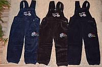 Утепленные вельветовые брюки-полукомбинезон  для мальчиков 80-104 см