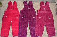 Утепленные вельветовые брюки-полукомбинезон  для девочек 80-104 см