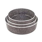 Набор противней для выпечки Lexical с антипригарным гранитным покрытием, 25x20, 30x22 и 35х24 см. Чёрные
