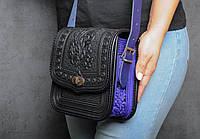 """Женская кожаная сумка ручной работы (метод горячего тиснения) """"Дубок"""", фото 1"""