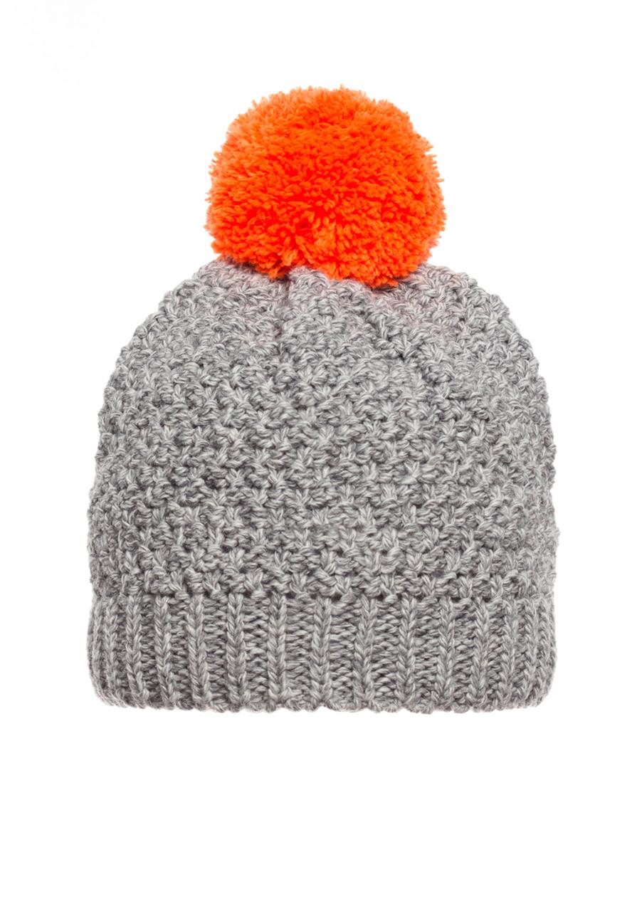 Детская красивая теплая удобная вязанная шапочка с бумбоном, Польша.
