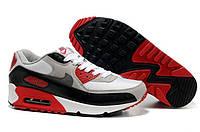 Кроссовки мужские Nike Air Max 90 бело-красные  кожа