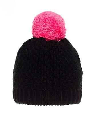 Детская теплая, практичная вязанная шапочка черная с малиновым бумбоном., фото 2