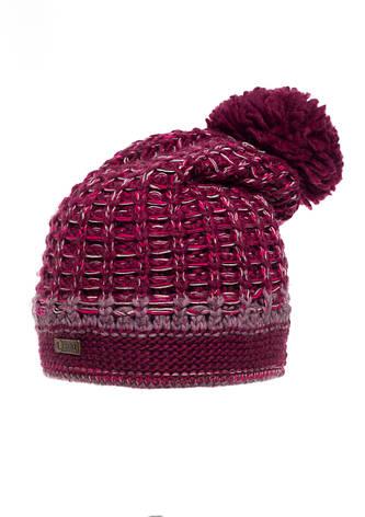 Женская модная красивая вязанная шапочка на флисе, бордовая., фото 2