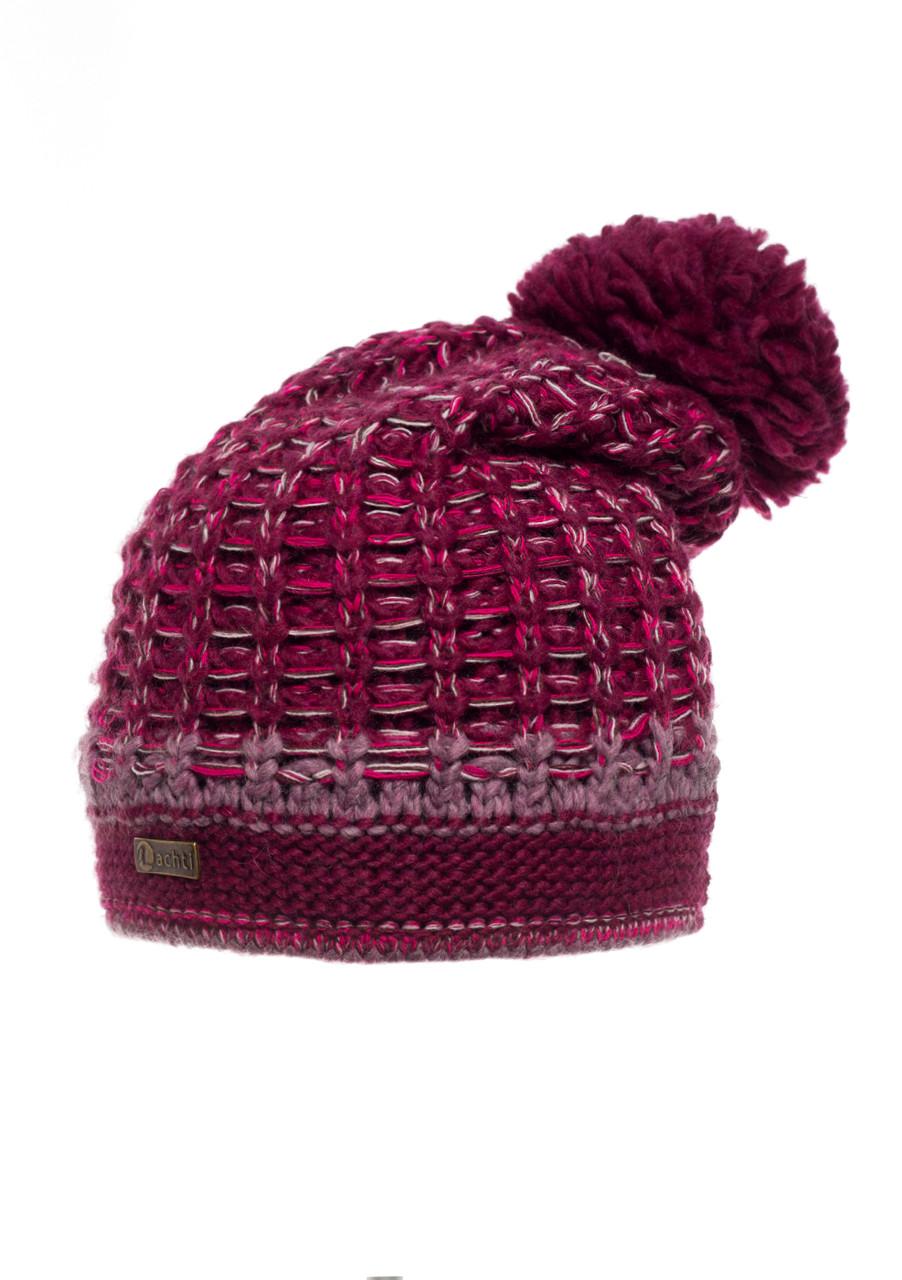 Женская модная красивая вязанная шапочка на флисе, бордовая.