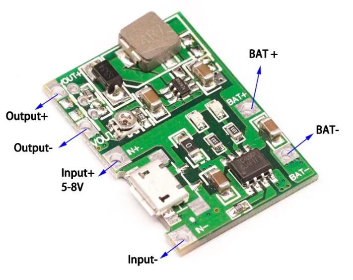 Регульований стабілізатор підвищує DC-DC - 4.5-8В - 4.3-27В 1А з micro USB