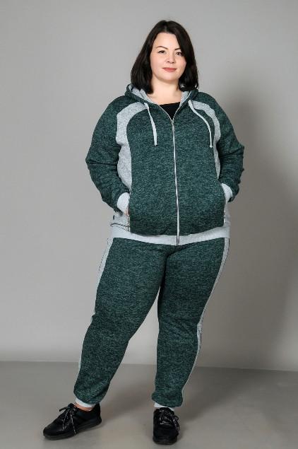 Спортивний жіночий костюм великого розміру, зелений