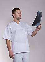 "Медицинский мужской белый костюм ""Health Life"" х/б 2222"
