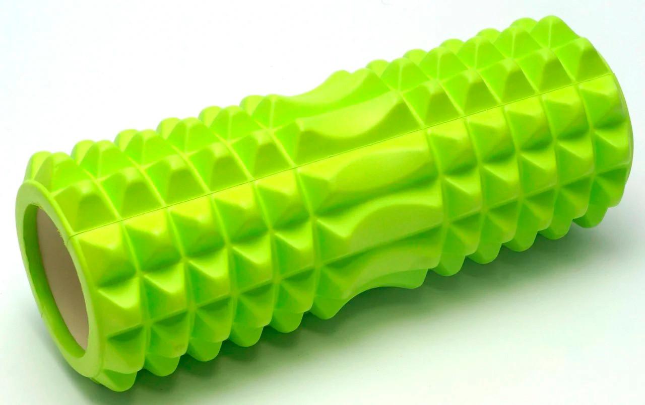 Масажний валик / ролик для фітнесу / йоги Салатовий з маленькими секціями, валик для масажу спини