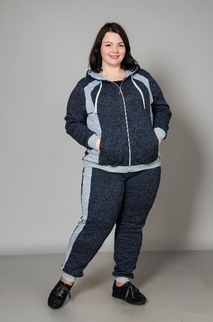 Спортивний жіночий костюм великого розміру, темно-синій