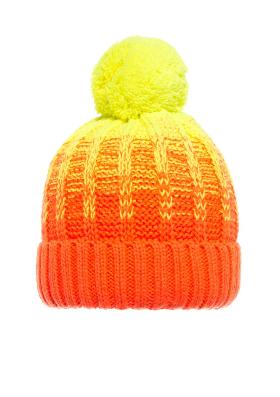 Детская  польская яркая красивая вязанная шапочка оранжевая с желтым бумбоном.