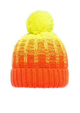 Детская  польская яркая красивая вязанная шапочка оранжевая с желтым бумбоном., фото 2
