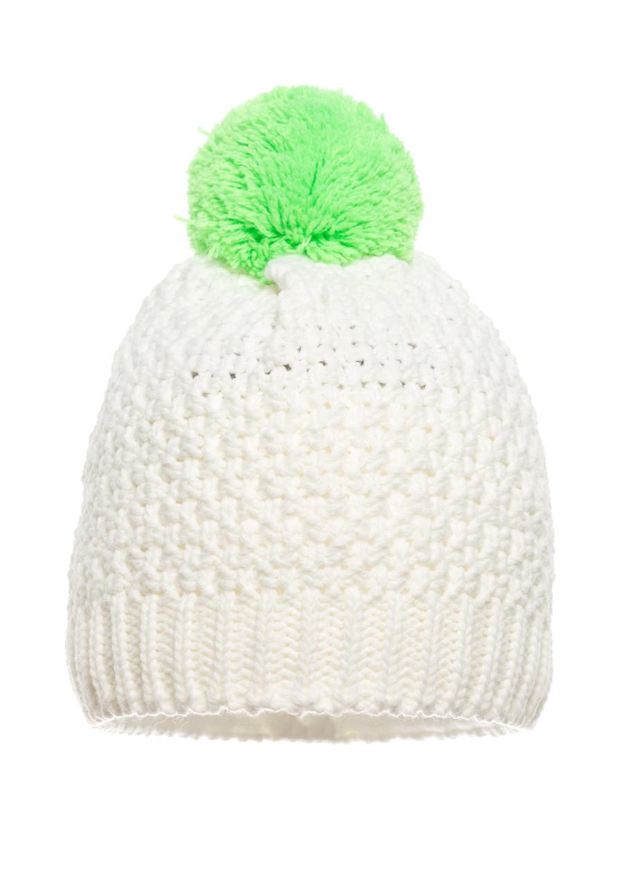 Детская нежная и оригинальная вязанная шапочка белая с салатовым бумбоном, Польша.
