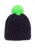 Детская удобная теплая  вязанная шапочка черная с салатовым бумбоном, Польша.