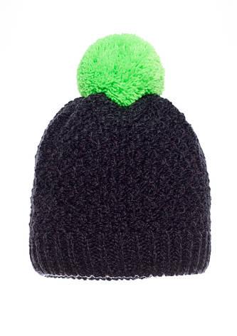 Детская удобная теплая  вязанная шапочка черная с салатовым бумбоном, Польша., фото 2