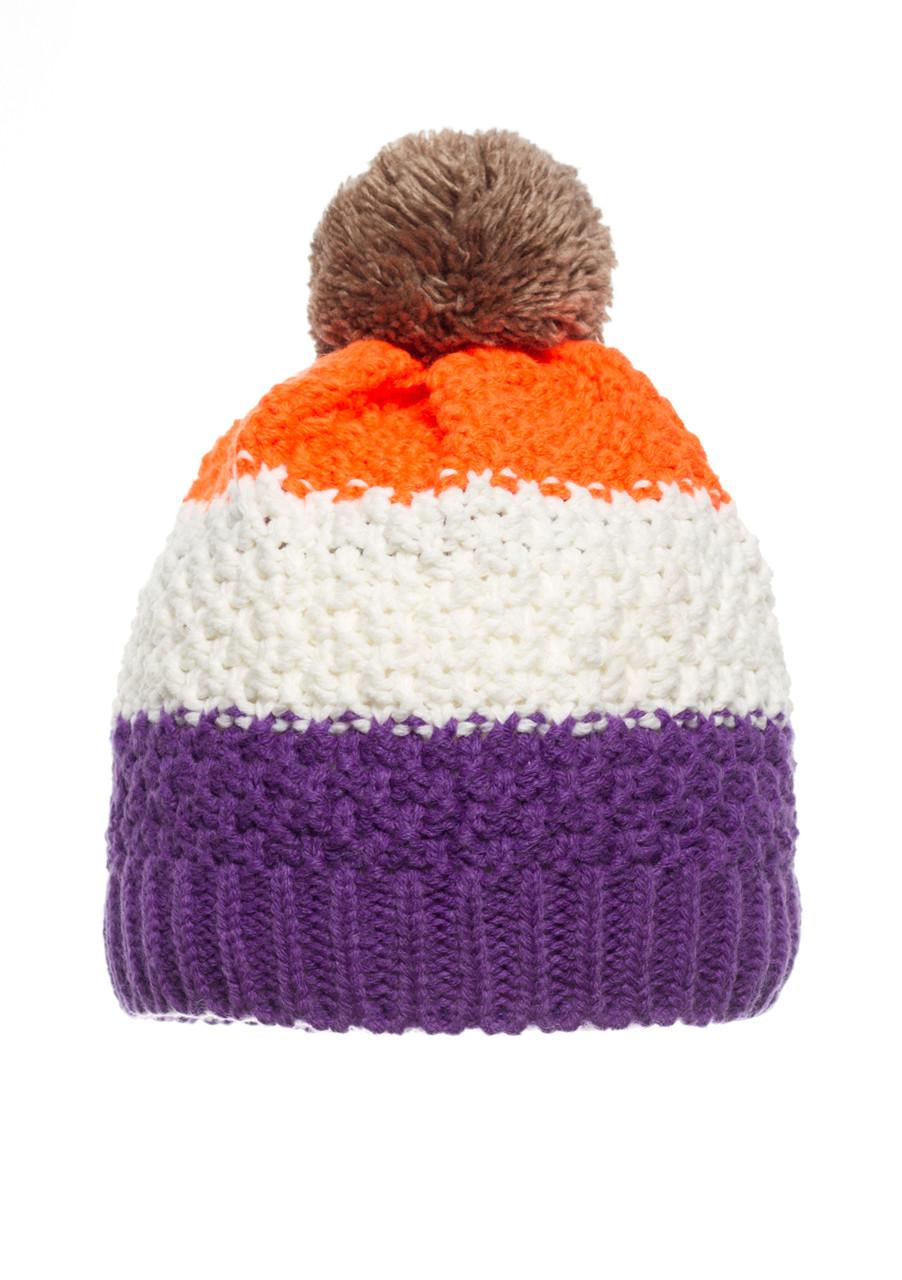 Детская оригинальная теплая красивая вязанная шапочка с бумбоном, Польша.