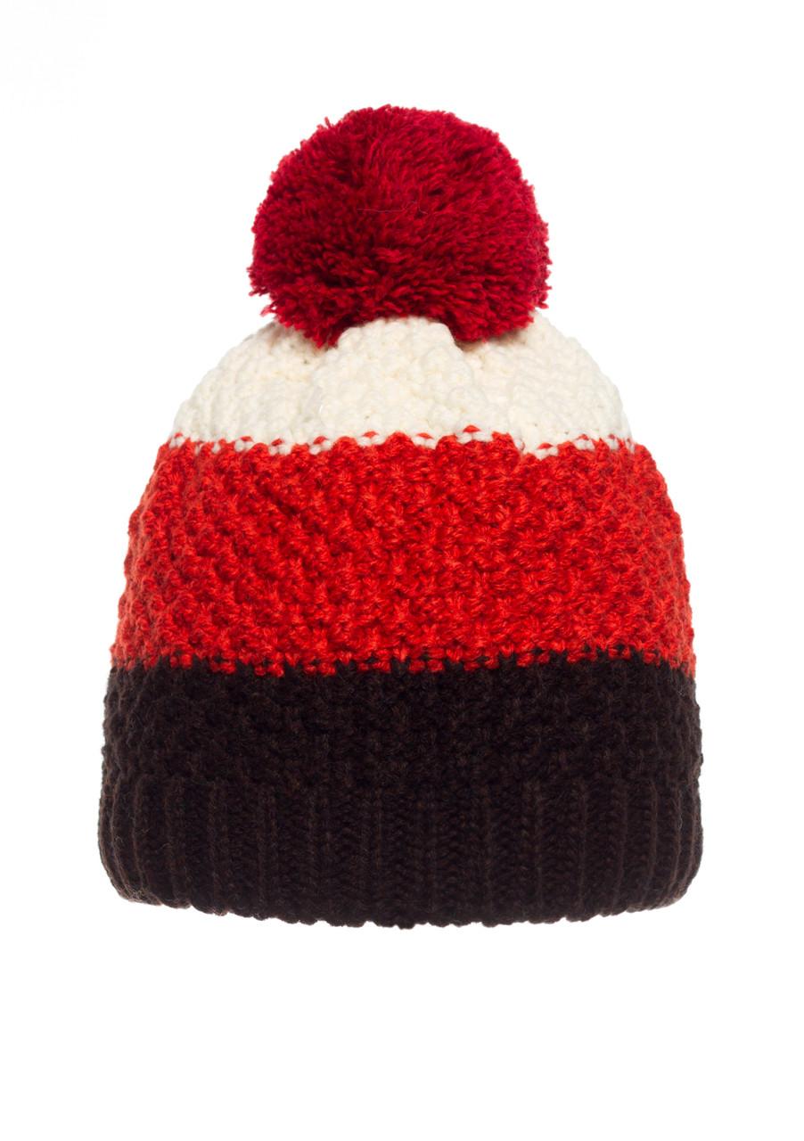 Детская вязанная шапочка с бумбоном производства Польши, красная с черным.