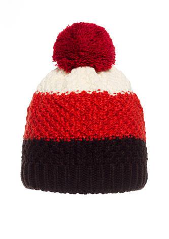 Детская вязанная шапочка с бумбоном производства Польши, красная с черным., фото 2