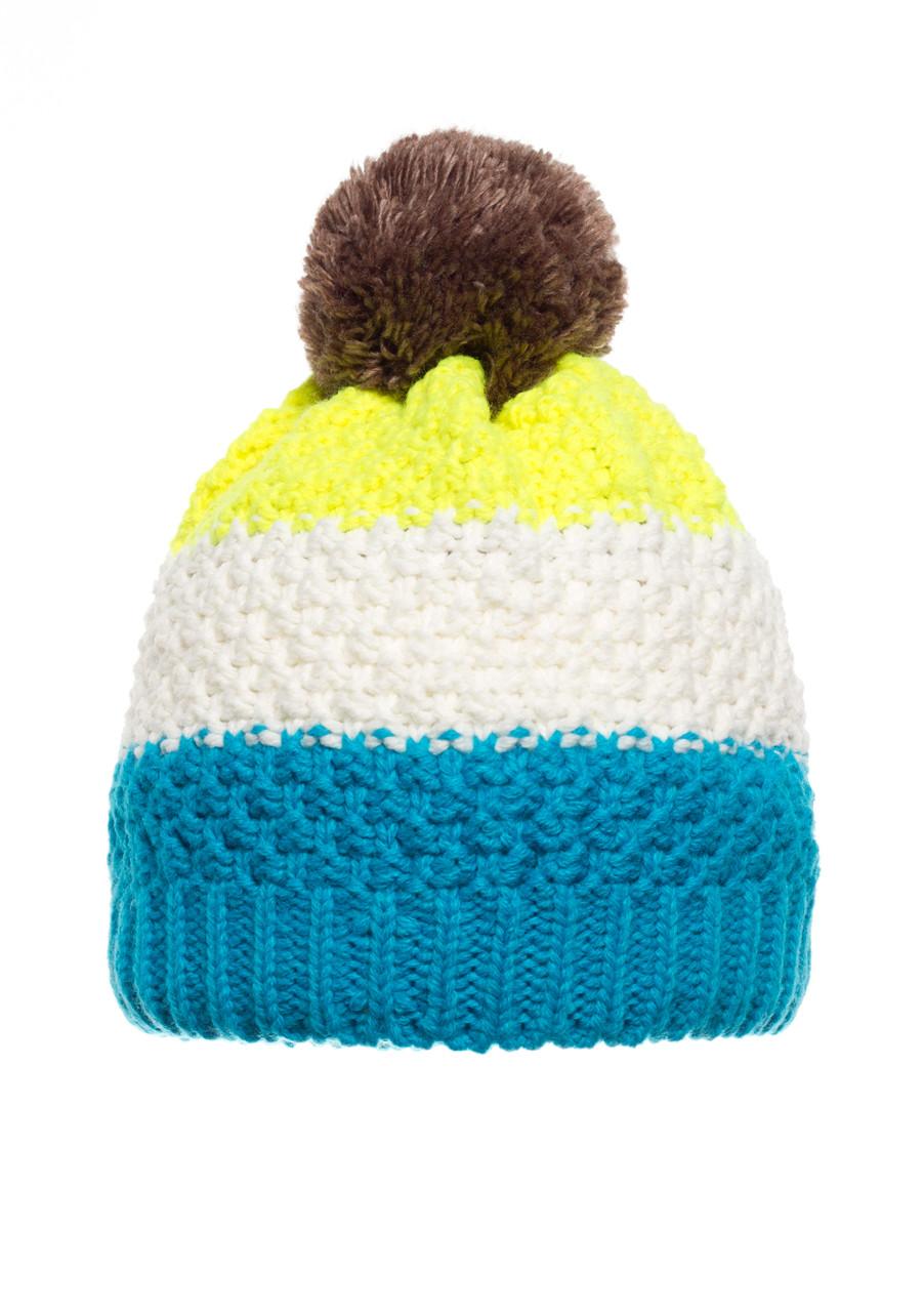 Детская красивая стильная качественная вязанная шапочка с бумбоном, Польша.