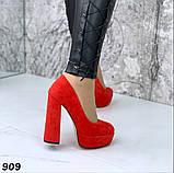 Женские туфли на высоком каблуке 13 см красные, фото 2