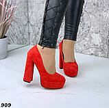 Женские туфли на высоком каблуке 13 см красные, фото 3