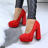 Женские туфли на высоком каблуке 13 см красные, фото 4